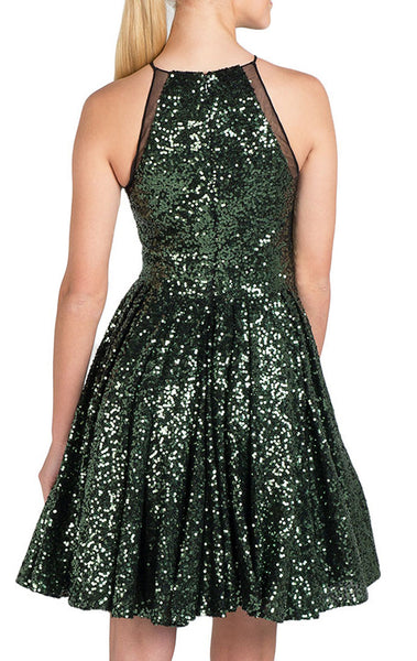 MACloth Halter O Neck Sequin Cocktail Dress Short Bridesmaid Dress