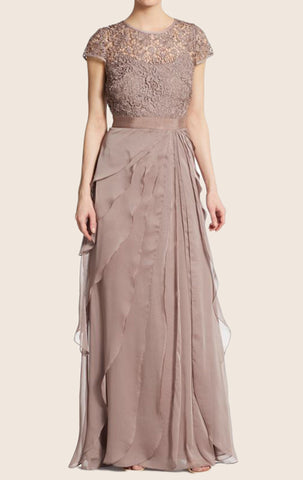MACloth Cap Sleeves Tiered Lace Chiffon Evening Gown Mother of the Brides Dress