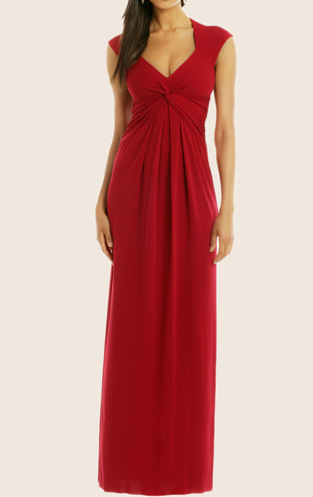 MACloth Cap Sleeves V Neck Jersey Formal Evening Gown Wedding Party Dress