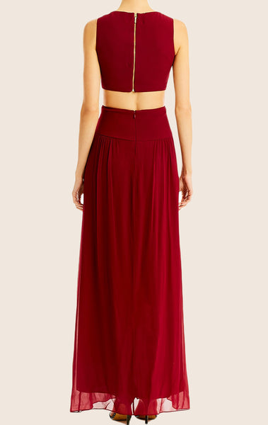 MACloth Straps O Neck Jersey Chiffon Prom Dress Burgundy Wedding Party Formal Gown