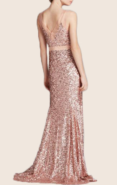 MACloth Mermaid V Back Sequin Prom Dress Rose Gold Formal Evening Gown