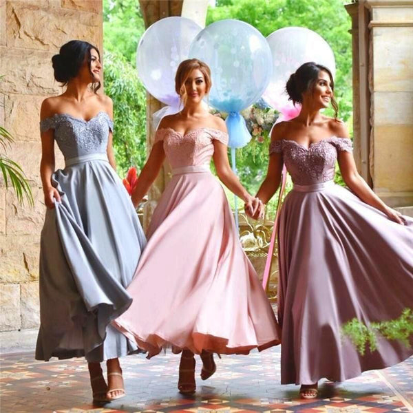 MACloth Off the Shoulder Tea Length Bridesmaid Dress Satin Lace Formal Gown