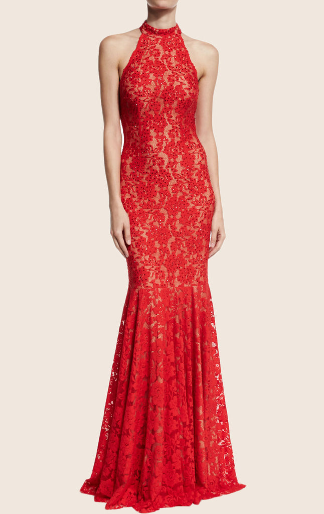MACloth Mermaid Halter Lace Red Evening Gown Simple Prom Dress