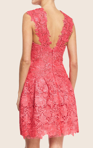 MACloth Straps High Neck Lace Mini Prom Homecoming Dress Pink Cocktail Dress