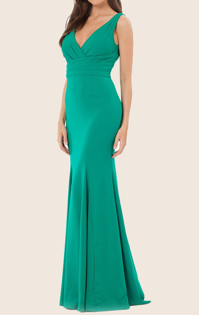 MACloth Mermaid Straps V Neck Jersey Turquoise Evening Gown Simple Pro