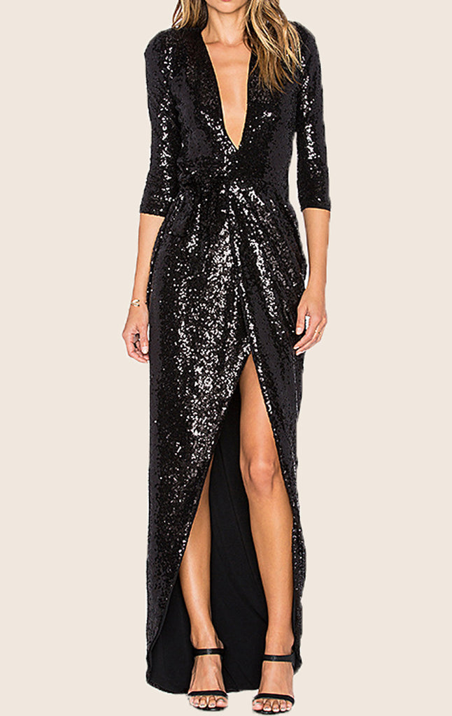 MACloth Half Sleeves Deep V Neck Sequin Evening Gown Black Formal Party Dress