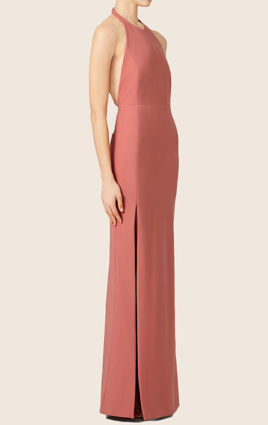 MACloth Halter Jersey Formal Evening Gown With Slit Simple Prom Dress