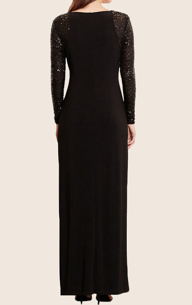MACloth Long Sleeves Jersey Sequin Evening Formal Gown with Slit