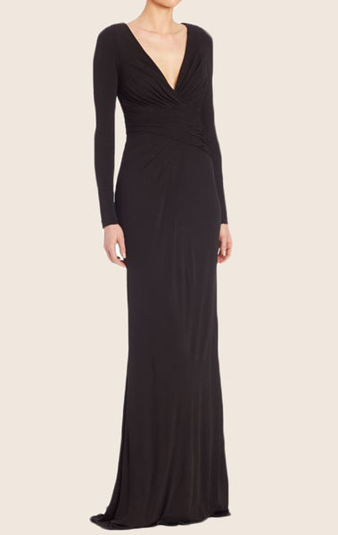 MACloth Long Sleeves V Neck Jersey Evening Formal Gown