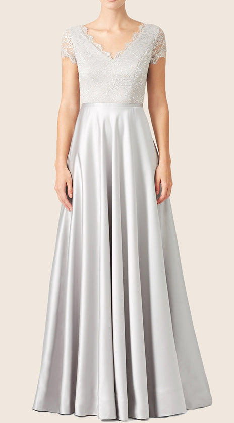 MACloth Cap Sleeves Lace Satin Formal Evening Gown Silver Wedding Party Dress