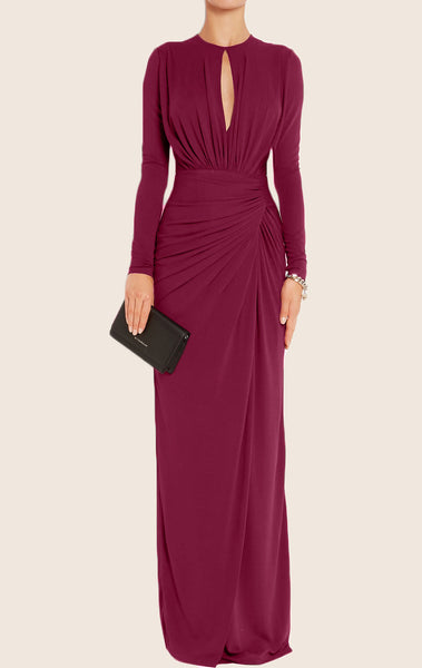 MACloth Long Sleeves O Neck Jersey Maxi Evening Gown Mother of the Brides Dress