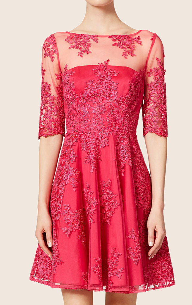 MACloth Half Sleeves Lace Cocktail Dress Hot Pink Prom Homecoming Dress