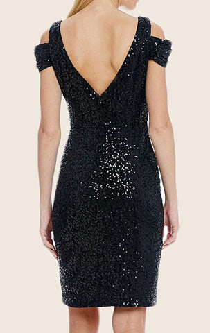 MACloth Off the Shoulder V Neck Sequin Cocktail Dress Black Mini Formal Dress