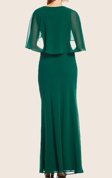 MACloth V Neck Chiffon Maxi Formal Evening Gown Green Mother of the Brides Dress