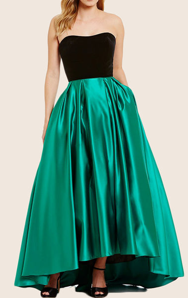 MACloth Strapless Satin Hi-Lo Prom Dress Green Formal Evening Gown