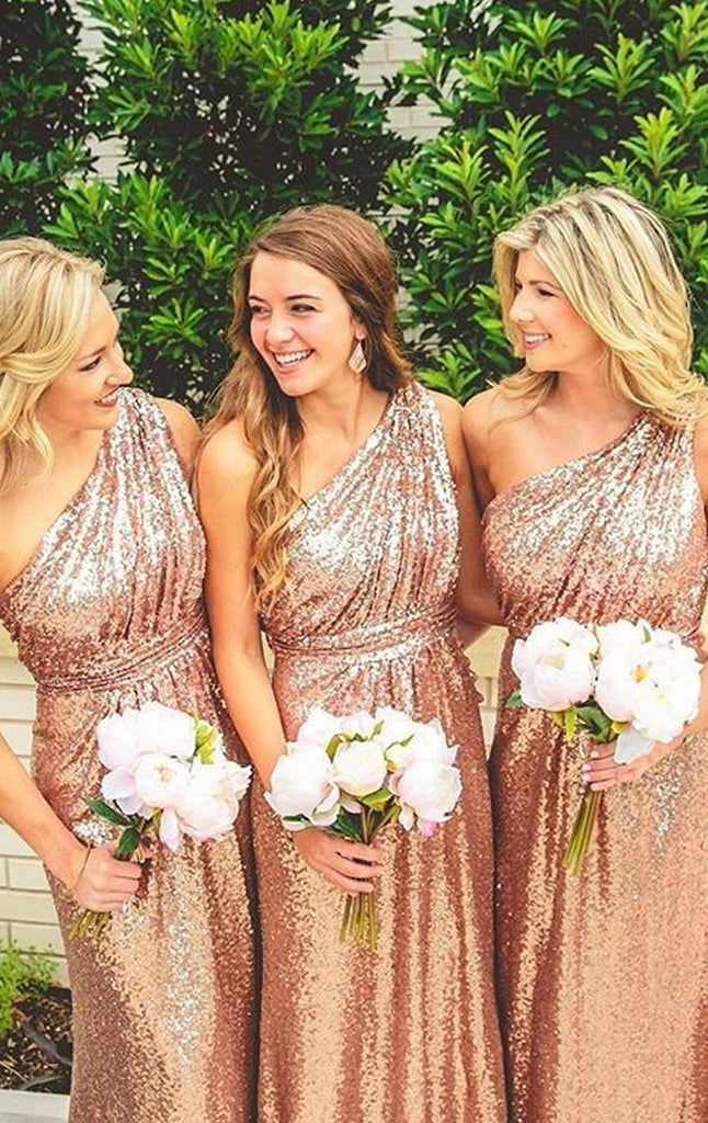 738c765ab93 MACloth One Shoulder Sequin Long Bridesmaid Dress Rose Gold Formal Gown