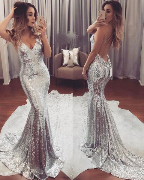 MACloth Mermaid Straps V Neck Sequin Prom Dress Champagne Evening Formal Gown