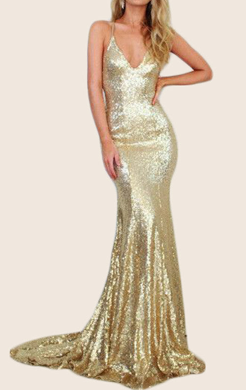 MACloth Mermaid Straps V Neck Sequin Prom Dress Champagne Evening Form