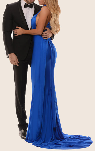 MACloth Convertible Wrap Tie Jersey Long Bridesmaid Dress Mermaid Formal Gown