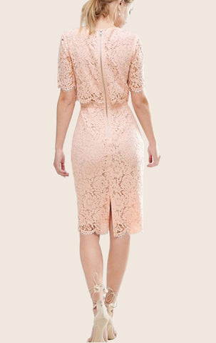 MACloth Two Piece Lace Pink Cocktail Dress Short Sleeves Midi Formal Gown