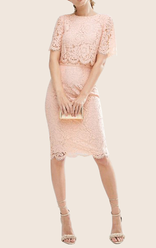 MACloth Two Piece Lace Pink Cocktail Dress Short Sleeves Midi Formal G