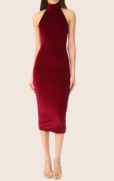 MACloth Sheath High Neck Midi Cocktail Dress Burgundy Formal Gown