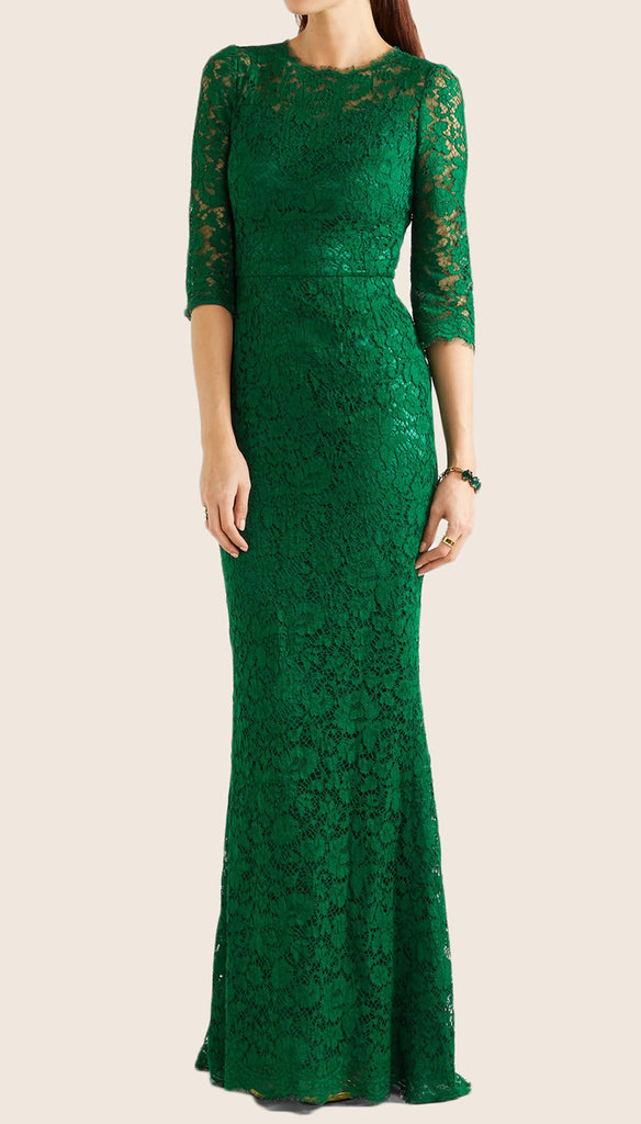 MACloth Mermaid 3/4 Sleeves Lace Evening Gown Green Formal Dress