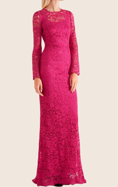 MACloth Long Sleeves Lace Maxi Formal Evening Gown Fuchsia Wedding Party Dress