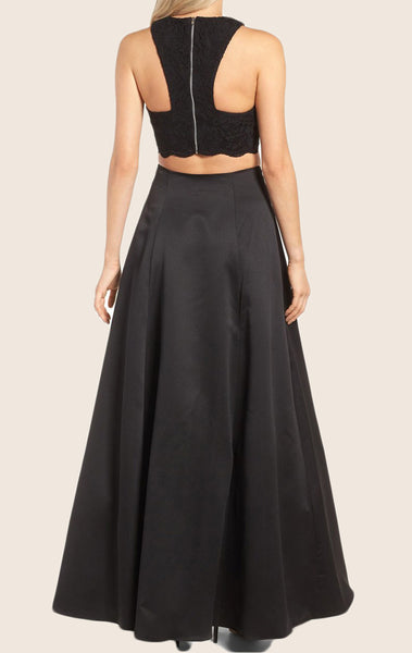 MACloth Two Piece Lace Satin Maxi Prom Dress Black Formal Gown