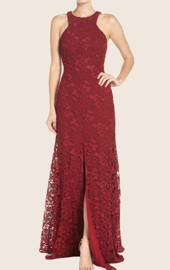 MACloth O Neck Lace Maxi Formal Evening Gown Burgundy Prom Dress