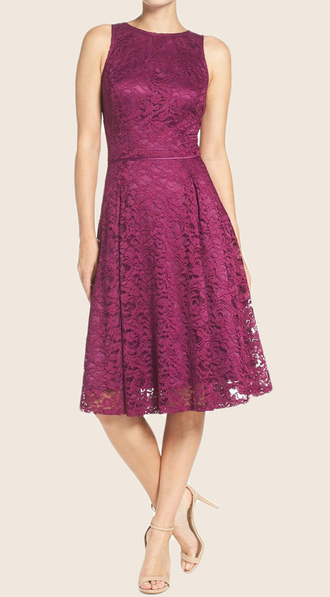 MACloth O Neck A Line Lace Cocktail Dress Purple Short Bridesmaid Dress