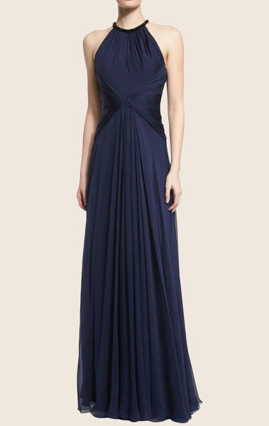 MACloth O Neck Lux Chiffon Maxi Evening Gown Dark Navy Formal Dress