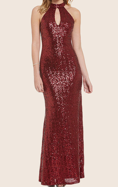 MACloth Halter Sequin Maxi Formal Gown Red Prom Dress with Open Back