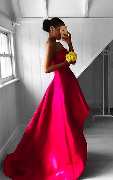 MACloth Strapless High Low Prom Dress Satin Fuchsia Formal Gown