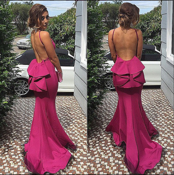 MACloth Meramid Halter Jersey Maxi Evening Gown Fuchsia Prom Dress
