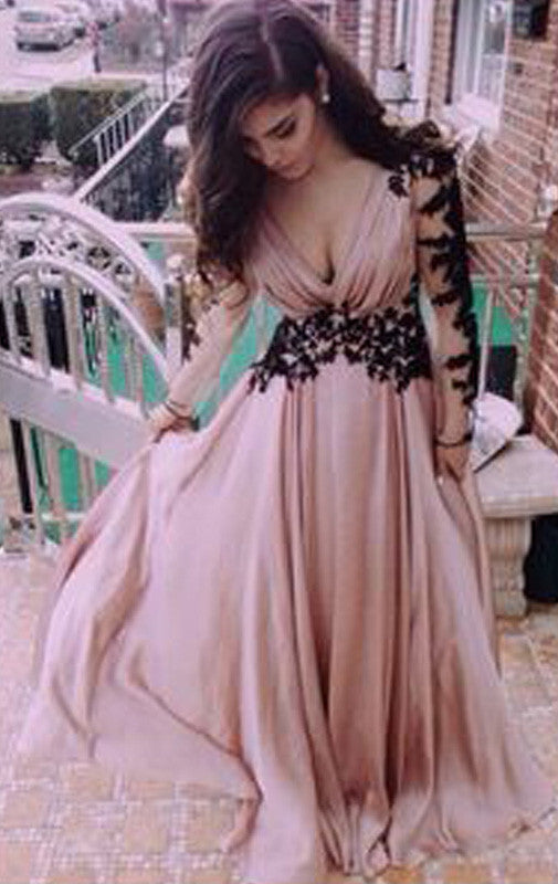 MACloth 3/4 Sleeves V Neck Lace Chiffon Prom Dress Maxi Formal Evening Gown