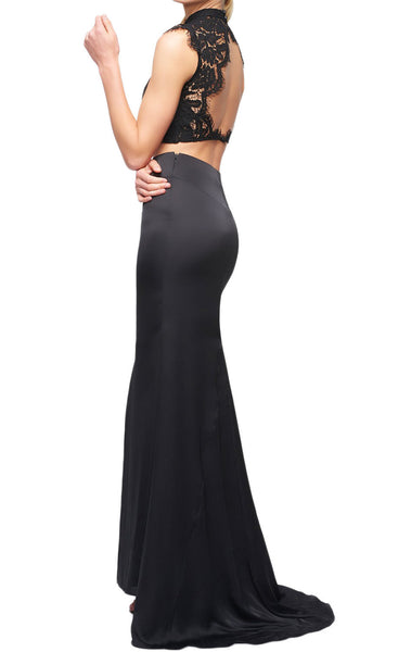 MACloth Mermaid Two Piece Lace Jersey Long Prom Dress Black Formal Gown
