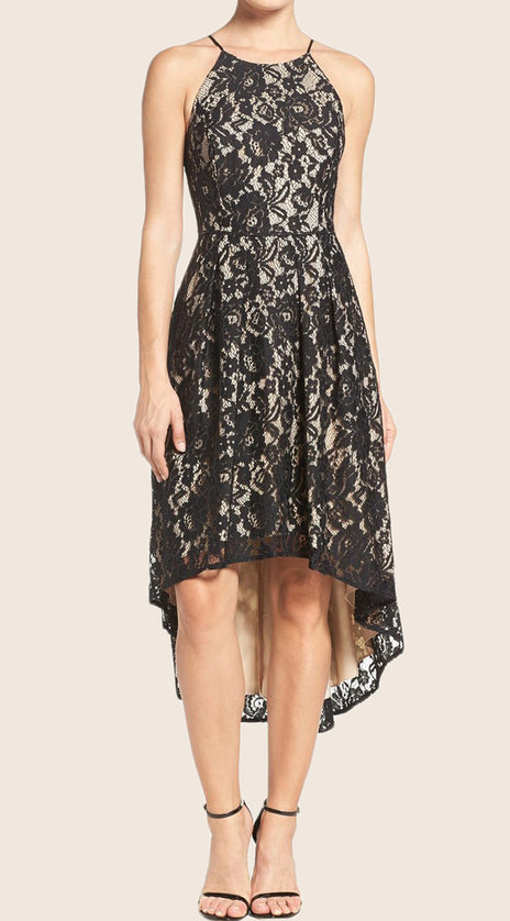 MACloth Halter O Neck High Low Cocktail Dress Black Lace Formal Gown