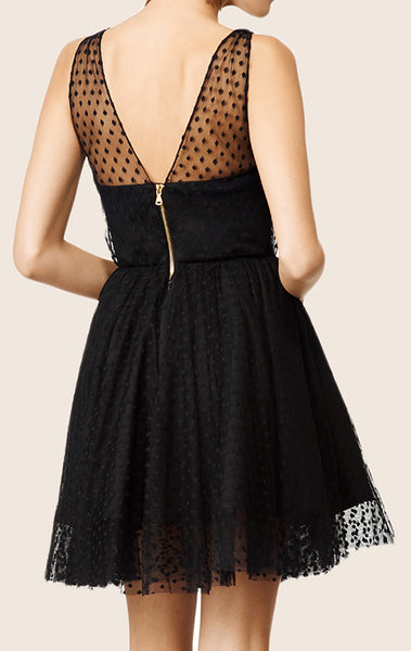 MACloth Straps V Neck Tulle Cocktail Dress Black Mini Formal Gown