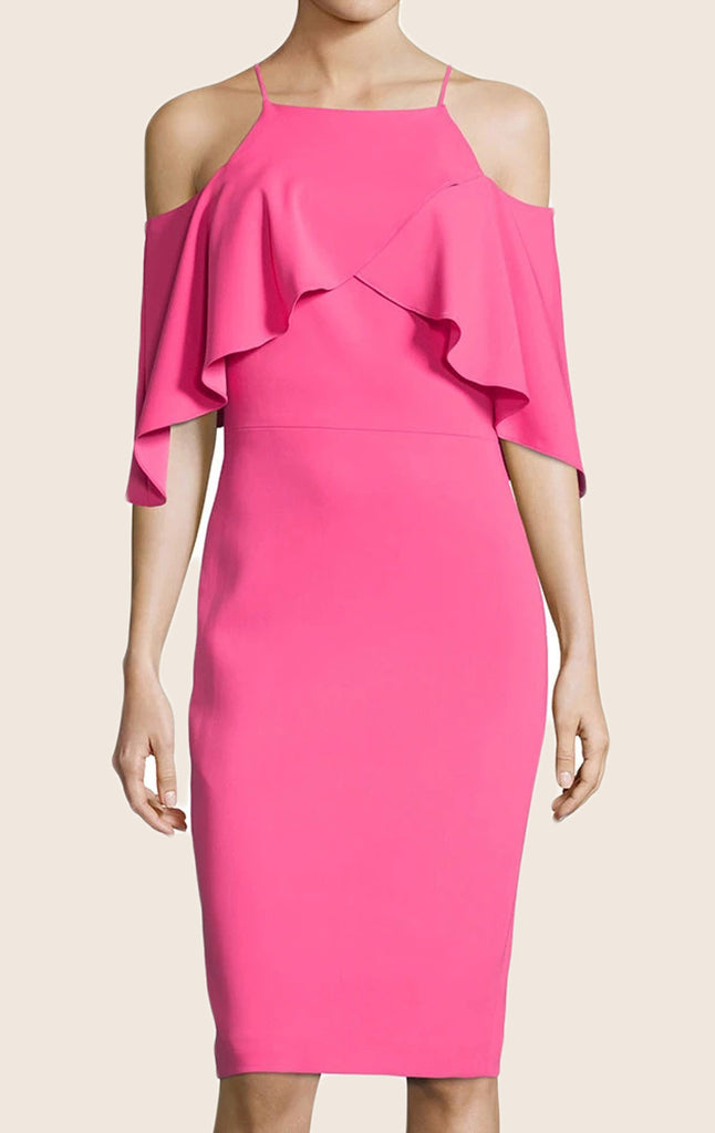 MACloth Off the Shoulder Sheath Jersey Cocktail Dress Midi Pink Formal Gown