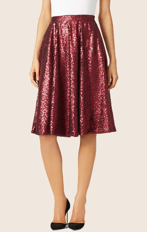MACloth A Line Knee Length Sequin Skirt Midi Skirt
