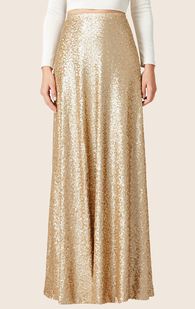 MACloth A Line Floor Length Sequin Skirt Maxi Skirt