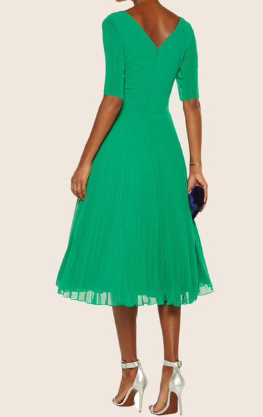 MACloth Half Sleeves Sweetheart Chiffon Cocktail Dress Green Midi Mother of the Brides Dress