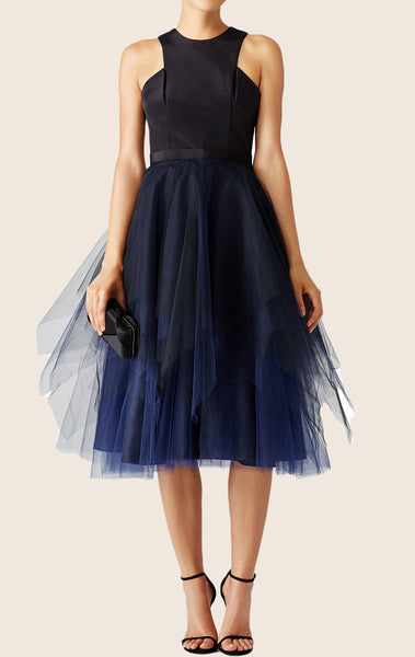MACloth Midi Satin Tulle Cocktail Dress with Open Back Dark Navy Formal Gown