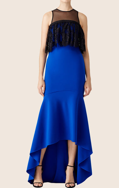 MACloth Mermaid High Low Lace Ruffled Prom Dress Royal Blue Formal Gown