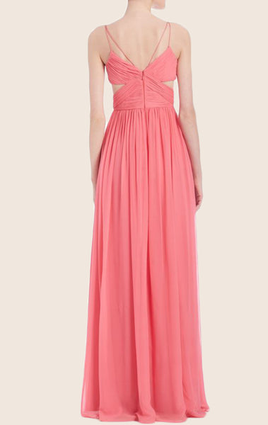 MACloth Spaghetti Straps V Neck Chiffon Prom Dress Sexy Blush Formal Gown