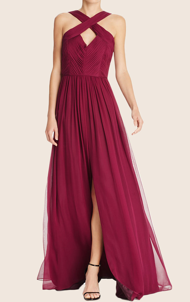 MACloth Halter Chiffon Maxi Prom Dress with Slit Burgundy Formal Gown