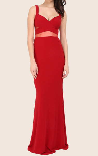 MACloth Two Piece Mermaid Maxi Prom Dress Jersey Red Formal Gown
