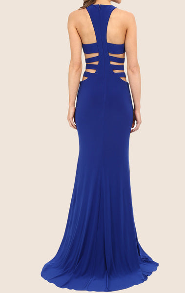 MACloth Mermaid Straps O Neck Jersey Maxi Prom Dress Royal Blue Formal Gown