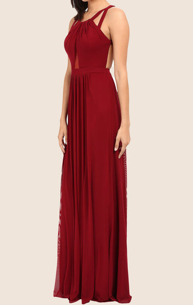 MACloth Halter Chiffon Long Prom Dress with Open Back Burgundy Formal Gown